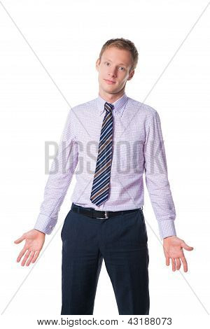 Businessman Expressing Misunderstanding wearing tie