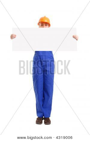 Female Builder With Blank Sheet