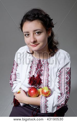Ukrainian Girl With Apples