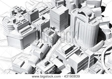 Architectural Visualization Of A City Aerial View