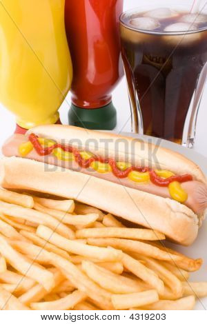 Fast Food Meal With Hotdog French Fries