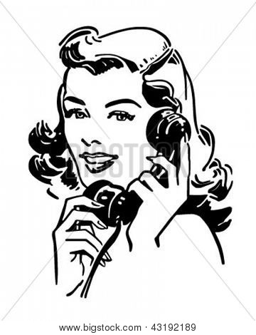 Cute Gal auf dem Phone - Retro ClipArt Illustration