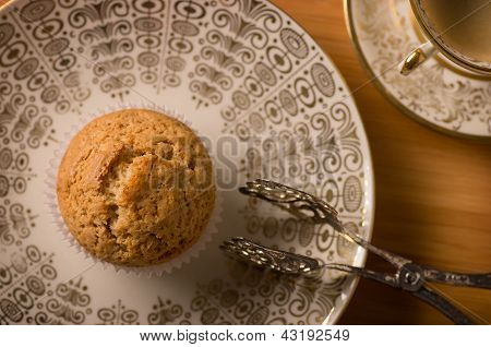Vegan Muffin On Antique Plate