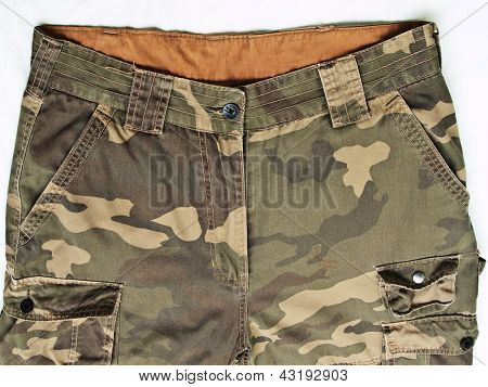 Camouflage Pants With Its Pockets isolated on white