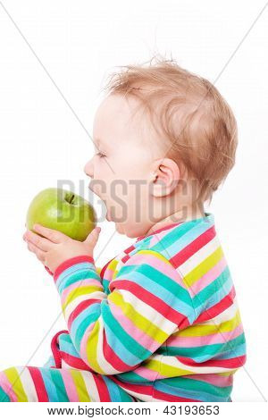Baby Eating Green Apple.