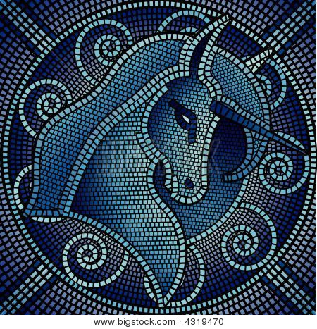 Blue Unicorn Mosaic