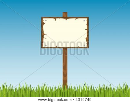 Blank Signpost With Grass
