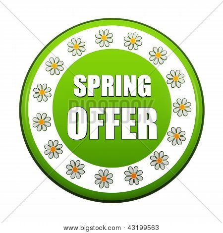 Spring Offer Green Circle Label With Flowers