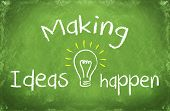 making ideas happen concept words on blackboard