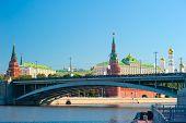 Постер, плакат: Кремль Москва большой каменный мост Водовзводная Свибловой башня Кремлевский дворец и Ca