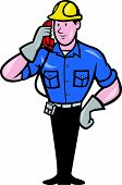 picture of lineman  - illustration of a telephone repairman lineman worker talking on phone done in cartoon style - JPG