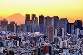 pic of mount fuji  - Skyscrapers in the Shinjuku Ward of Tokyo with Mt - JPG