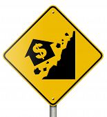stock photo of mudslide  - Humorous road or traffic sign warns of falling real estate values - JPG