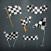 stock photo of motocross  - Checkered flags - JPG