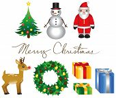 picture of cursive  - A set of various Christmas elements and  - JPG