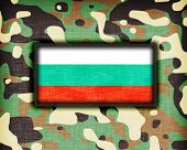 stock photo of ami  - Amy camouflage uniform with flag on it Bulgaria - JPG