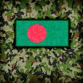 stock photo of ami  - Amy camouflage uniform with flag on it Bangladesh - JPG
