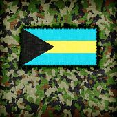 stock photo of ami  - Amy camouflage uniform with flag on it The Bahamas - JPG