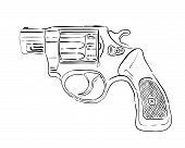 stock photo of crossed pistols  - drawing black revolver on a white background - JPG