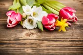 stock photo of wooden table  - Spring flowers on rustic wooden table - JPG