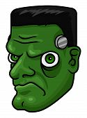picture of frankenstein  - A cartoon halloween frankenstein monster head or mask - JPG