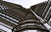 stock photo of petronas towers  - Looking up at one of Petronas Twin towers - JPG