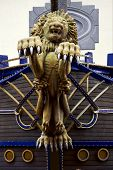 picture of brahma  - lion port louis wood statue of a Hinduism women Shiva vishnu Brahma in a temple near a lake in mauritius africa - JPG