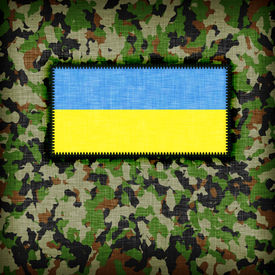 pic of ami  - Amy camouflage uniform with flag on it Ukraine - JPG
