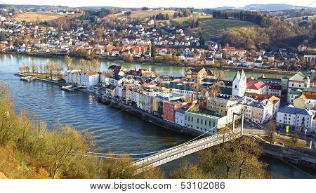 Picturesque panorama of Passau. Germany