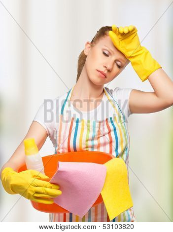 Young Housewife Is Tired Of Housework