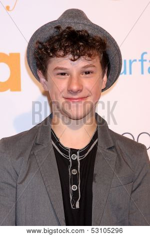 LOS ANGELES - OCT 28:  Nolan Gould at the Modern Family on USA Network Fan Appreciation Event at Village Theater on October 28, 2013 in Westwood, CA