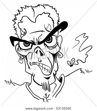 cartoon hand drawn illustration of a mad face devil with fly