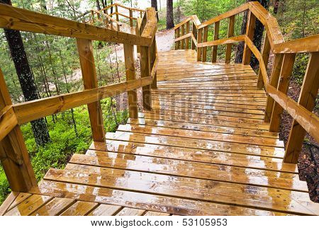 Wet Wooden Stairway In The Forest. Imatra Town, Finland