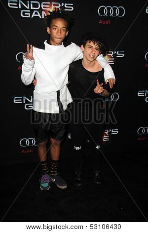 LOS ANGELES - OCT 28:  Jaden Smith, Moises Arias at the