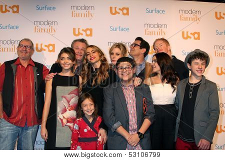 LOS ANGELES - OCT 28:  Modern Family Cast at the Modern Family on USA Network Fan Appreciation Event at Village Theater on October 28, 2013 in Westwood, CA