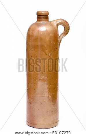 Old Brown Stoneware Water Bottle