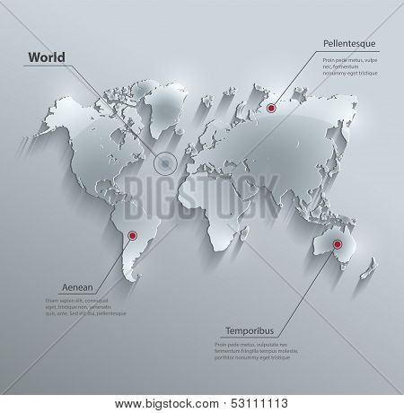 vector World map glass card paper 3D