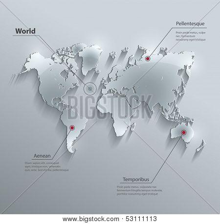 vector World map glass card paper 3D