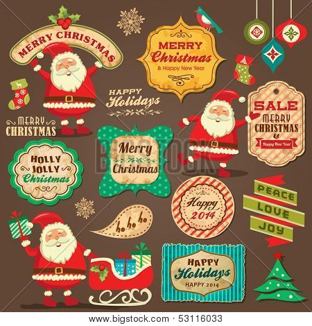 Collection of Christmas ornaments and decorative elements, vintage frames, labels, stickers