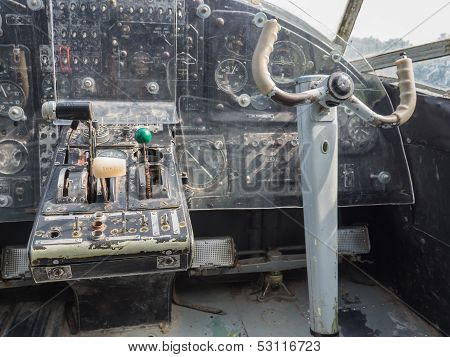 Inside The Cockpit Of A Vintage Small Jet Plane