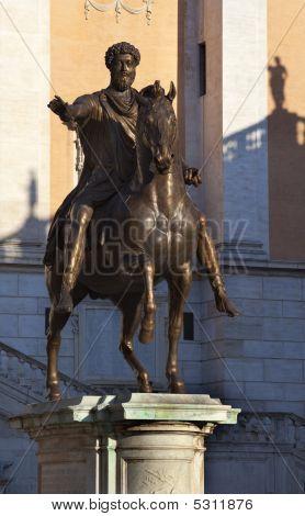 Emperor Marcus Aurelius Bronze Equestrian Statue Capitoline Hill Rome Italy