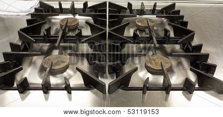 Picture of gas stove in professional kitchen