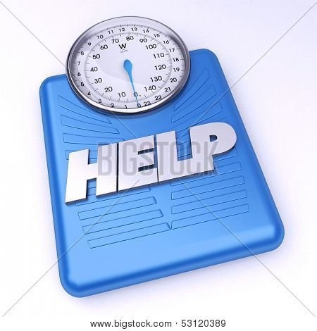 3D rendering of a weight scale with the word help