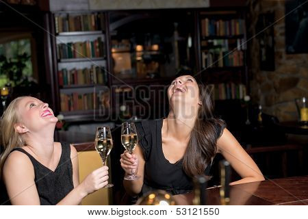 Two Elegant Women Drinking And Partying