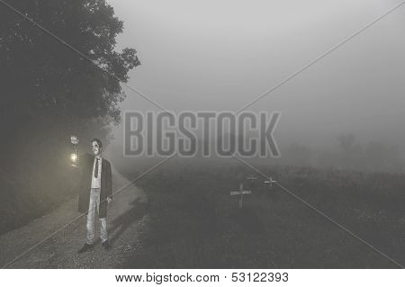 Maniac waiting for his prey in the fog