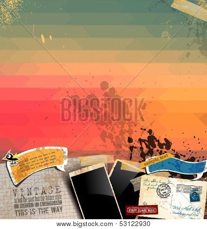 Vintage scrapbook composition with old style elements and hipster style background