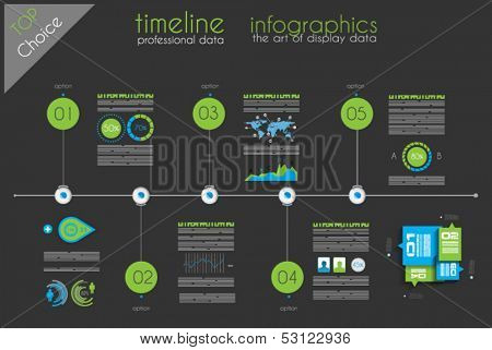 Timeline to display your data in order with Infographic elements technology icons,  graphs,world map and so on. Ideal for statistic data display.