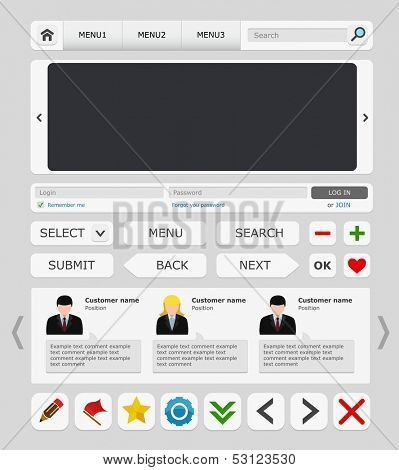 White web design elements set. Vector illustration