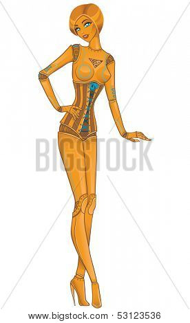 Beautiful girl robot android on white. Vector illustration