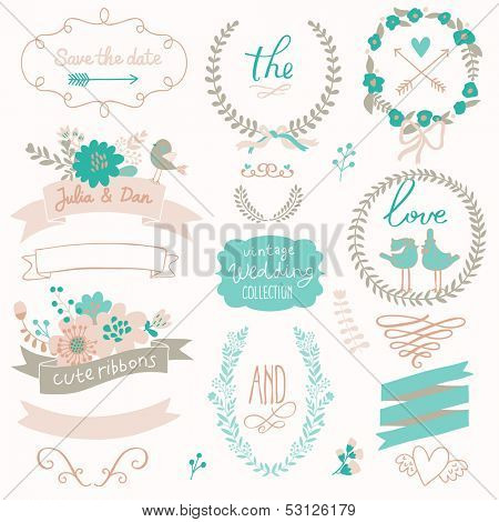 Romantic wedding set with labels, ribbons, hearts, flowers, arrows, wreaths, laurel and birds. Graphic set in retro style. Save the Date invitation in vector.